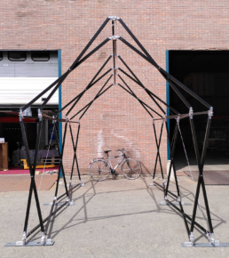 black pop up structure sustainable