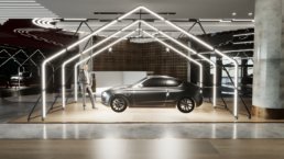 Showroom for car with design structure with light effects