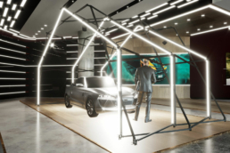 Car under Structure with light design as showroom