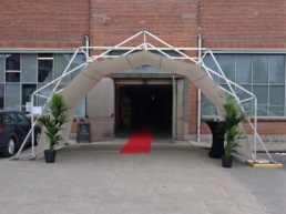 covered tent with red carpet as waiting entrance for event