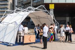 Wooden Bar under sheltered tent for Afterwork Event at VUB