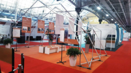 Design structure with panels at exhibition