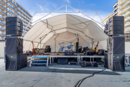 Tent stage with music instruments