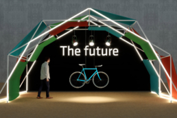 reusable design structure with colored panels with bike in the background for future exhibition stand