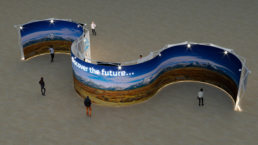 Curved structure with screen for exhibition