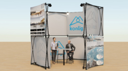 Exhibition or Fair stand with panels and lighting