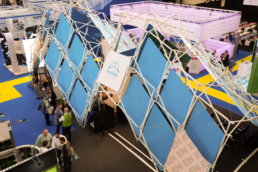 sustainable Scissor Structure as conference booth
